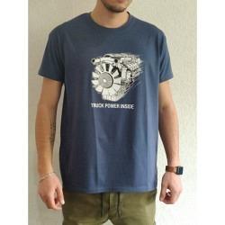 T-Shirt Farbe Denim mit Motorzeichnung